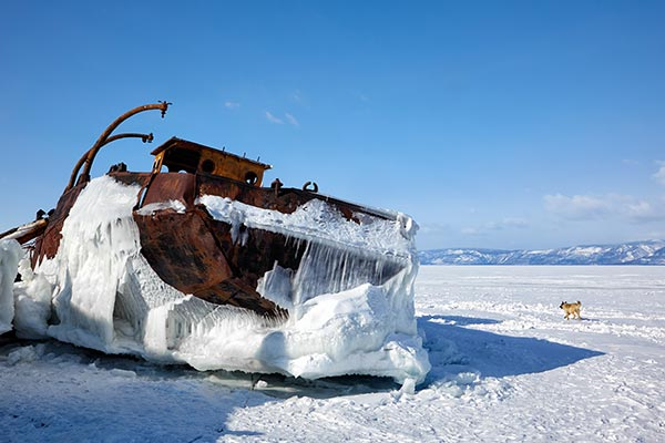 Frozen Ship on Lake Baikal